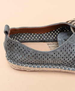 Perforated Suede Espadrille Sneakers