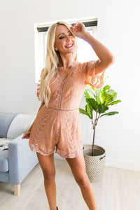 Luscious Lace Romper In Apricot - Boho Valley Boutique