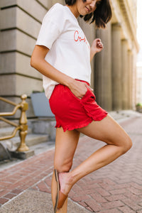 Ruffled Red Shorts - Boho Valley Boutique
