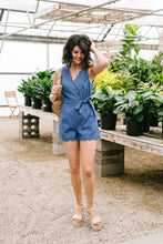 Load image into Gallery viewer, Scallop Away Denim Romper