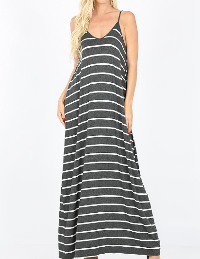 Favorite basics striped maxi dress in charcoal - Boho Valley Boutique