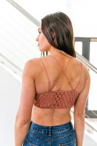 XOXO Scalloped Lace Bralette In Salmon