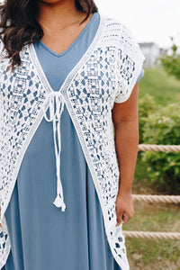 Artsy Crocheted Cardi In Ivory - Boho Valley Boutique