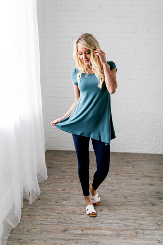 Asymmetrical Buttons Tunic In Antique Blue - Boho Valley Boutique