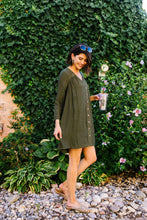 Load image into Gallery viewer, Autumn Embroidered Shirt Dress - Boho Valley Boutique