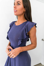 Load image into Gallery viewer, Babydoll Blue Ruffle Sleeve Dress - Boho Valley Boutique