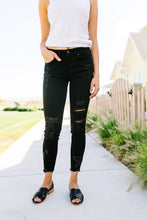 Load image into Gallery viewer, Back To Black Ripped Knee Skinny Jeans