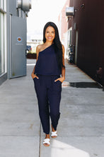 Load image into Gallery viewer, Bare Shoulder Navy Jumpsuit - Boho Valley Boutique