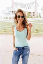 Load image into Gallery viewer, Basic Scoop Neck Tank In Aquamarine - Boho Valley Boutique