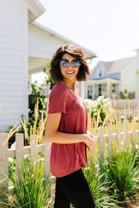 Basic V-neck Tee With A Spot Of Fun In Marsala - Boho Valley Boutique