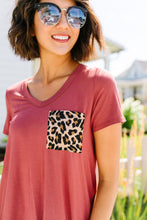 Load image into Gallery viewer, Basic V-neck Tee With A Spot Of Fun In Marsala - Boho Valley Boutique