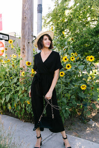 Black Wrap Front Jumpsuit - Boho Valley Boutique