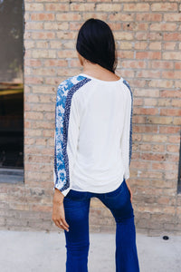 Blue Sleeved Rhapsody Blouse - Boho Valley Boutique
