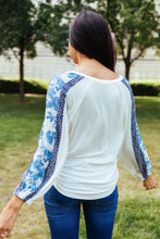 Load image into Gallery viewer, Blue Sleeved Rhapsody Blouse - Boho Valley Boutique