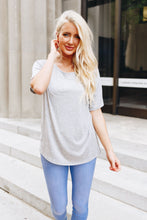 Load image into Gallery viewer, Boatneck Tee In Heather Gray - Boho Valley Boutique