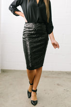 Load image into Gallery viewer, Born To Shine Sequined Pencil Skirt In Black - ALL SALES FINAL