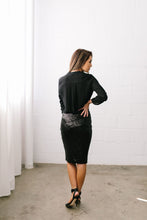 Load image into Gallery viewer, Born To Shine Sequined Pencil Skirt In Black - ALL SALES FINAL - Boho Valley Boutique