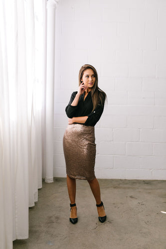 Born To Shine Sequined Pencil Skirt In Bronze - ALL SALES FINAL - Boho Valley Boutique