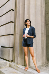 Business Casual Pinstriped Blazer - Boho Valley Boutique