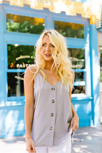 Load image into Gallery viewer, Button-down Camisole In Gray - Boho Valley Boutique