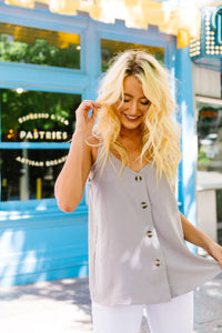 Button-down Camisole In Gray - Boho Valley Boutique