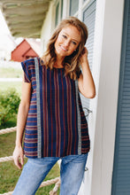 Load image into Gallery viewer, Cherokee Cap Sleeve Blouse In Navy