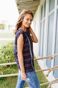 Cherokee Cap Sleeve Blouse In Navy - Boho Valley Boutique