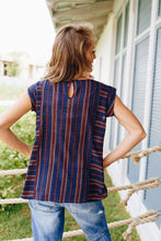 Load image into Gallery viewer, Cherokee Cap Sleeve Blouse In Navy - Boho Valley Boutique