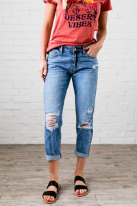 Collateral Damage Boyfriend Jeans - Boho Valley Boutique