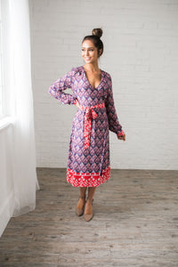 Contrast Print Wrap Dress - ALL SALES FINAL - Boho Valley Boutique