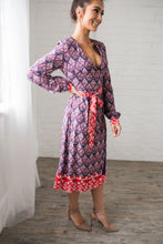Load image into Gallery viewer, Contrast Print Wrap Dress - ALL SALES FINAL - Boho Valley Boutique