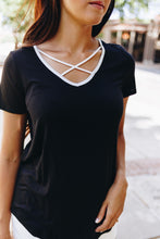 Load image into Gallery viewer, Contrasting Criss Cross Tee In Black + White