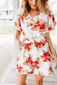 Coral Floral Romper - Boho Valley Boutique