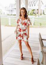 Load image into Gallery viewer, Coral Floral Romper - Boho Valley Boutique