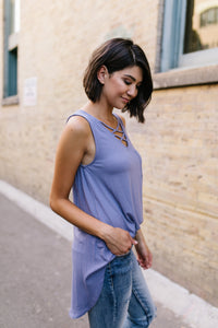 Criss Cross Periwinkle Tank - Boho Valley Boutique