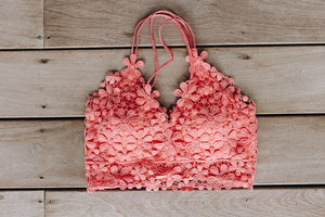 Daisy Delight Bralette In Coral - Boho Valley Boutique