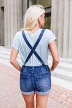 Load image into Gallery viewer, Daisy Denim Distressed Shortalls In Dark Wash - Boho Valley Boutique
