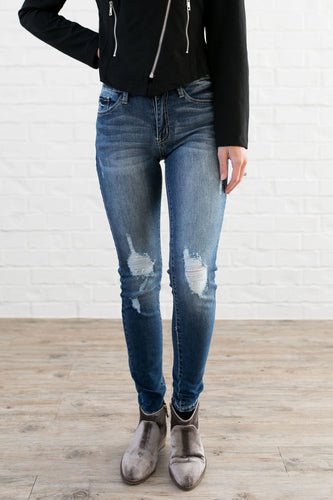 Damaged Goods Faded Skinny Jeans - ALL SALES FINAL - Boho Valley Boutique