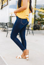 Load image into Gallery viewer, Dark Wash Button-Fly Raw Hem Jeans - Boho Valley Boutique