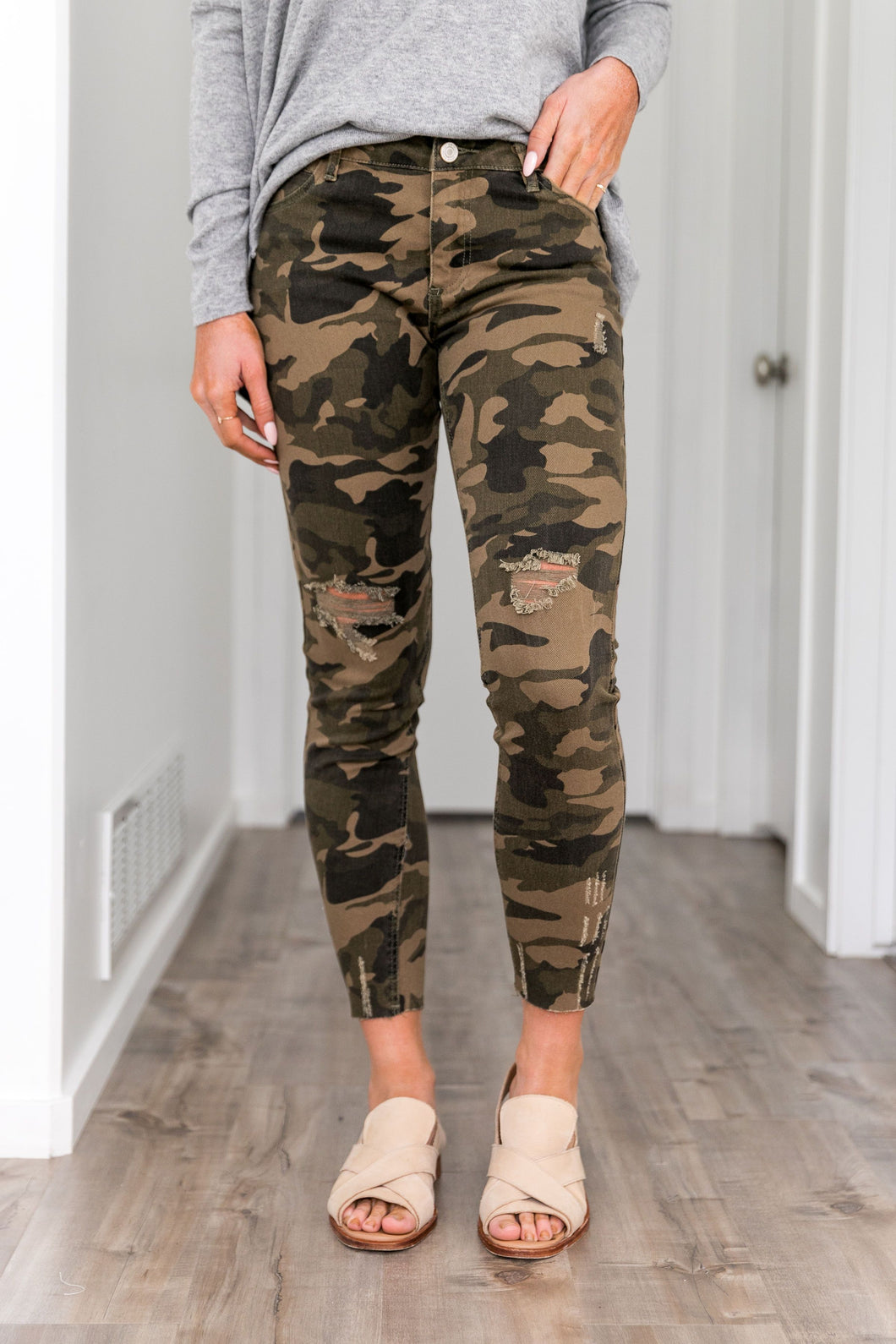 Distressed Mid Rise Camo Jeans - Boho Valley Boutique