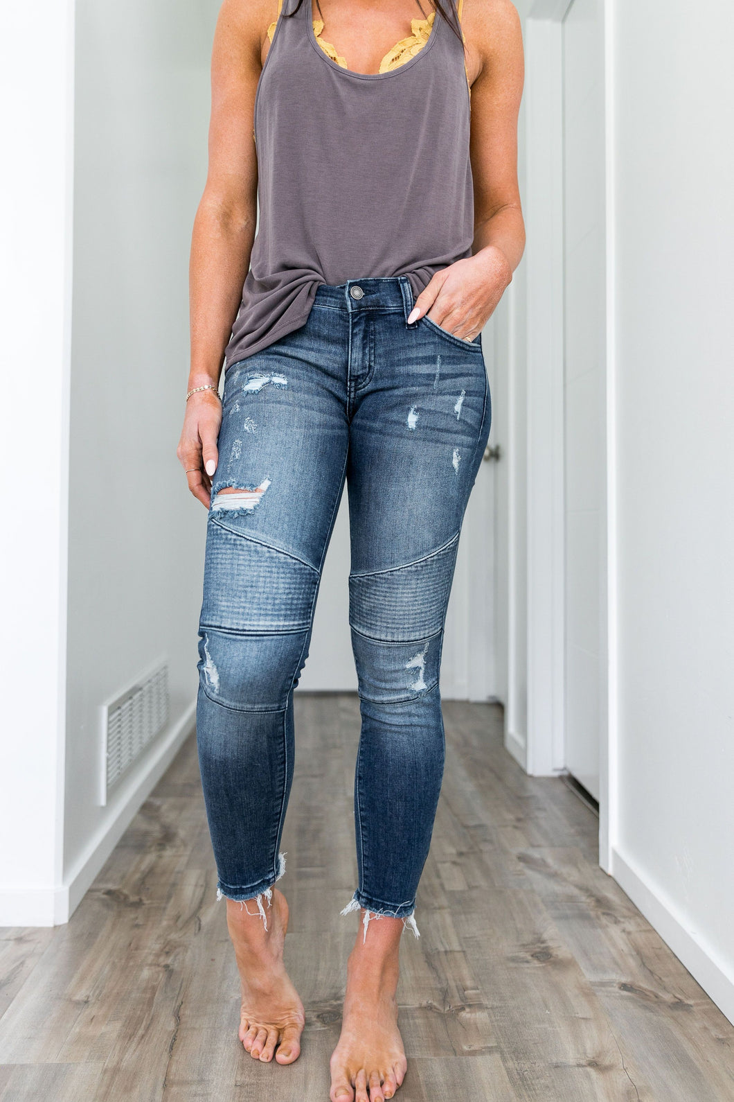 Distressed Moto Skinny Ankle Jean Light Wash - Boho Valley Boutique