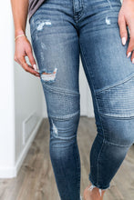 Load image into Gallery viewer, Distressed Moto Skinny Ankle Jean Light Wash - Boho Valley Boutique