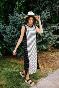 Double Dipped Striped Dress - Boho Valley Boutique