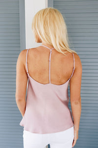 Draped Neck Satin Cami In Lilac - Boho Valley Boutique