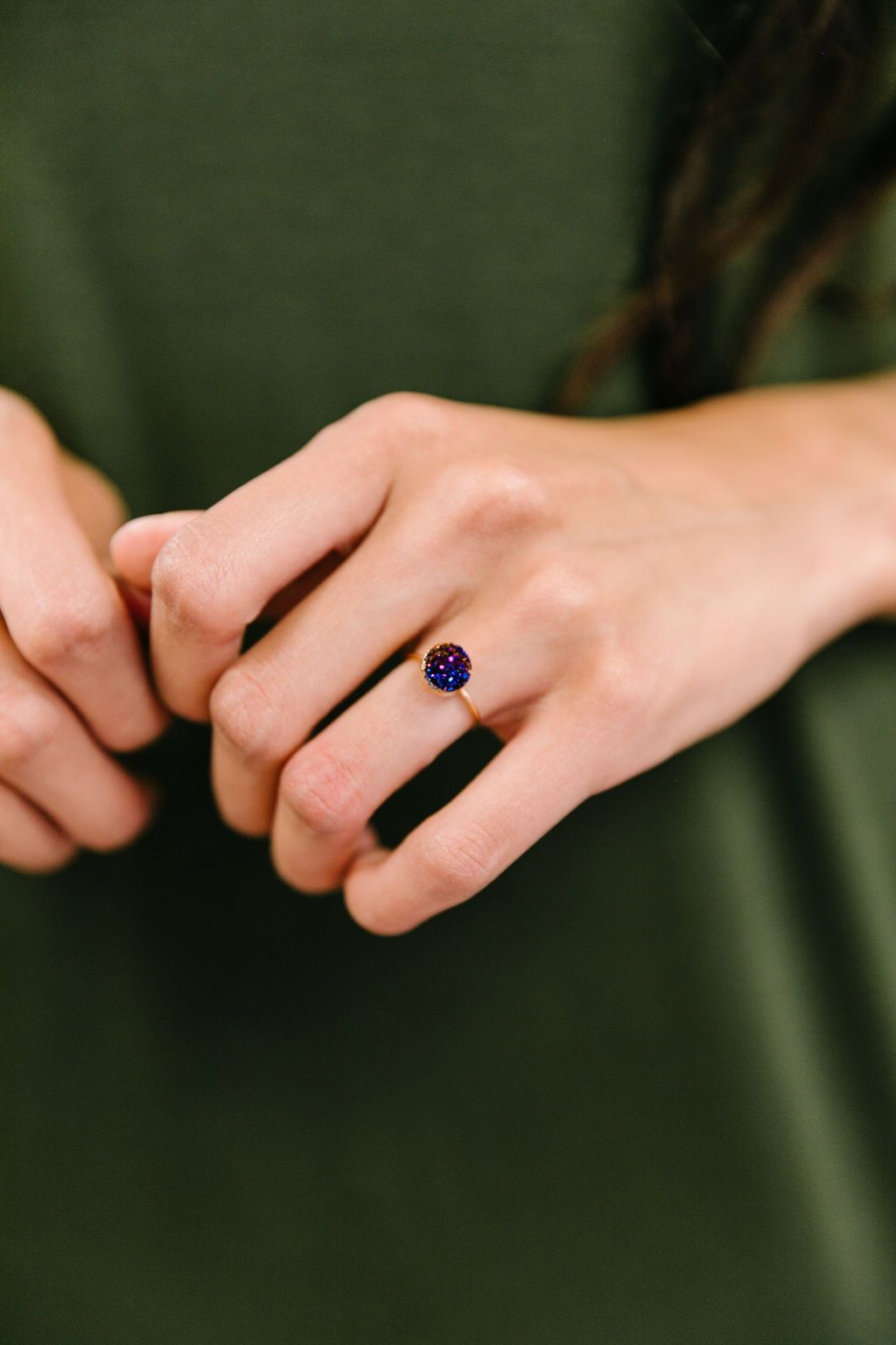 Druzy Adjustable Ring In Midnight Blue - Boho Valley Boutique