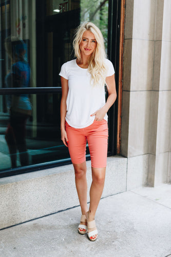 Everyday Colored Bermudas in Coral - Boho Valley Boutique