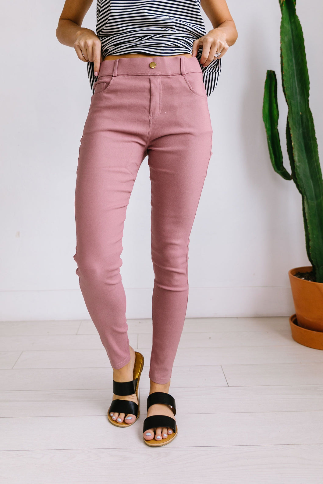 Everyday Colored Jeggings in Mauve - Boho Valley Boutique