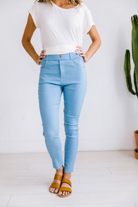 Everyday Colored Jeggings in Sky Blue - Boho Valley Boutique