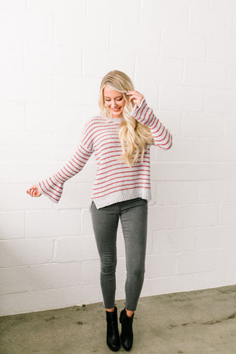 Faded Not Forgotten Striped Sweater In Silver - ALL SALES FINAL - Boho Valley Boutique