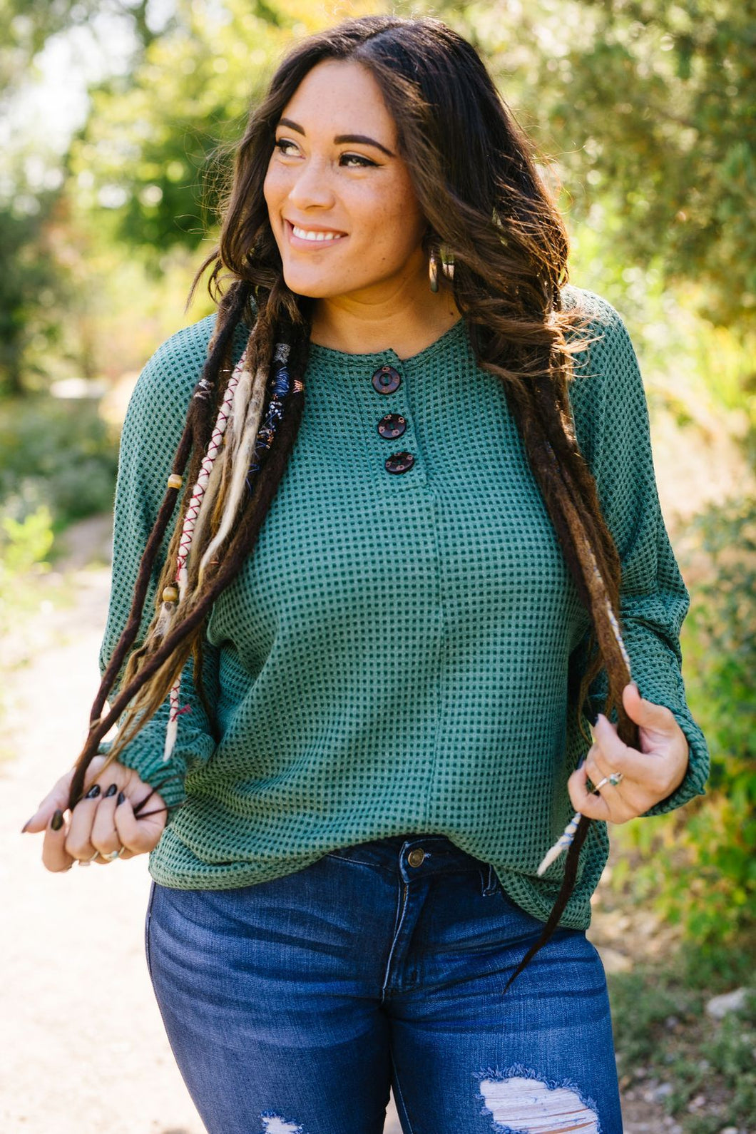 Fern Waffle Knit Henley - Boho Valley Boutique